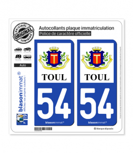 54 Toul - Armoiries II | Autocollant plaque immatriculation