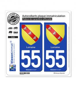 55 Lorraine - Armoiries | Autocollant plaque immatriculation