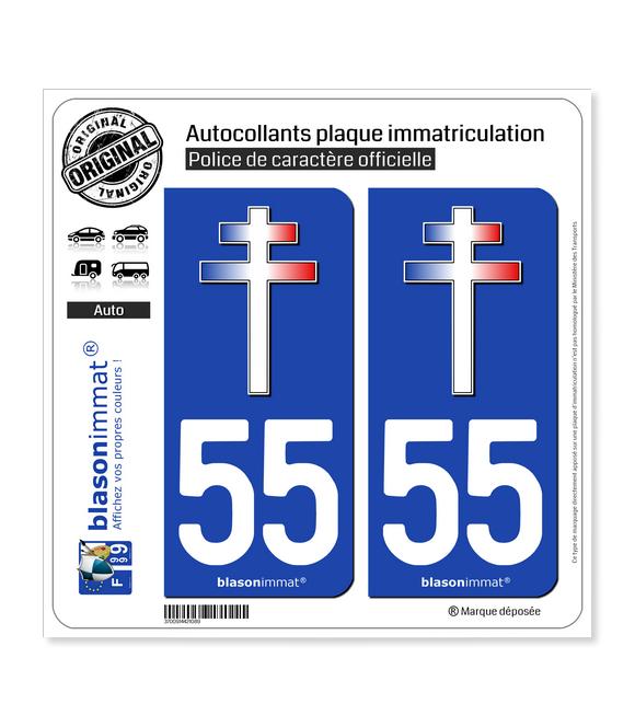 55 Croix de Lorraine | Autocollant plaque immatriculation