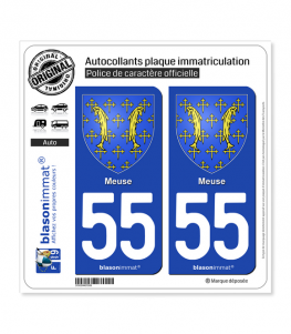 55 Meuse - Armoiries | Autocollant plaque immatriculation