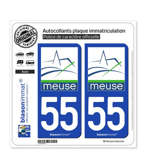 55 Meuse - Département | Autocollant plaque immatriculation