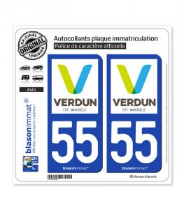 55 Verdun - Ville | Autocollant plaque immatriculation