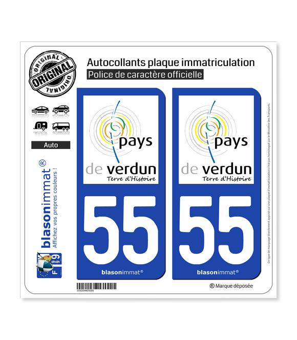55 Verdun - Pays | Autocollant plaque immatriculation