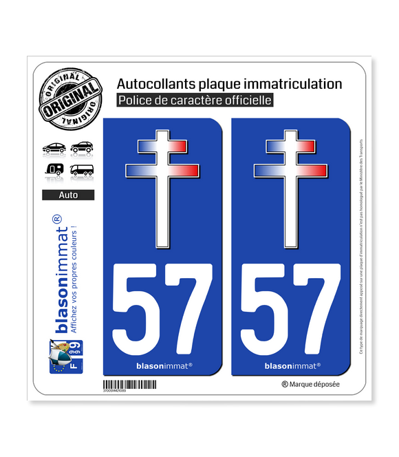 57 Croix de Lorraine | Autocollant plaque immatriculation