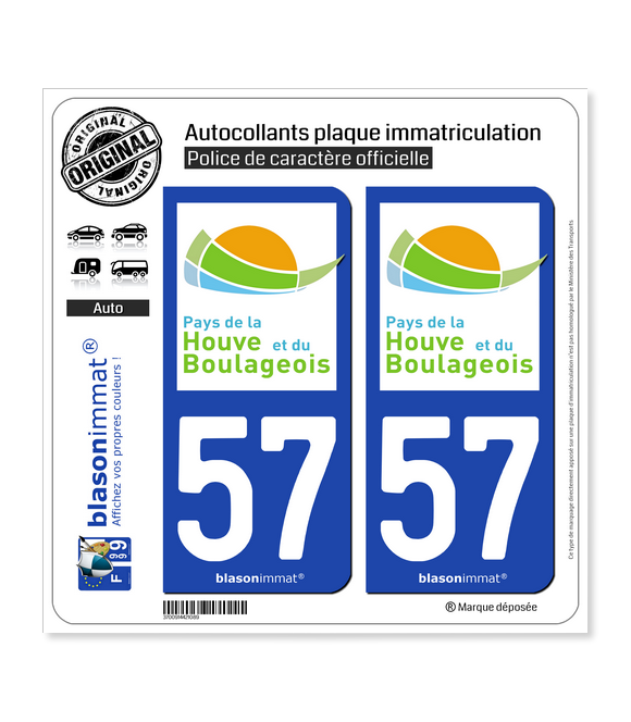 57 Boulay-Moselle - Agglo | Autocollant plaque immatriculation