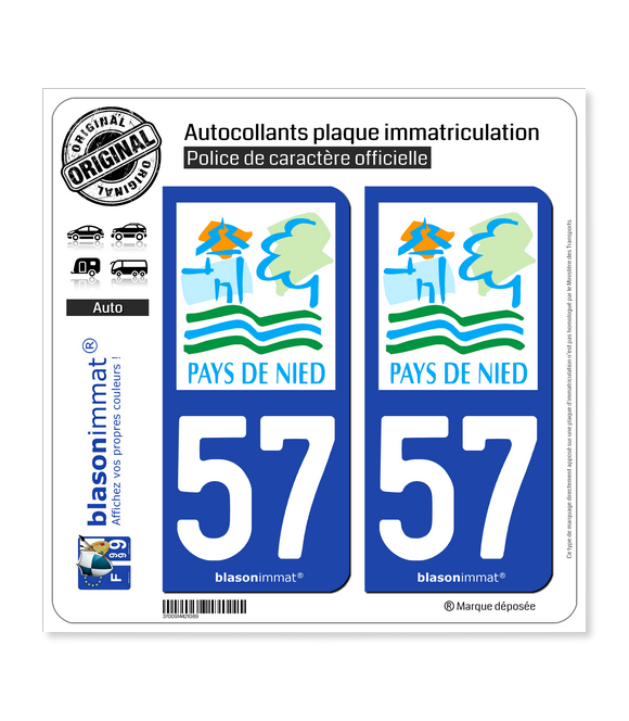 57 Boulay-Moselle - Pays | Autocollant plaque immatriculation