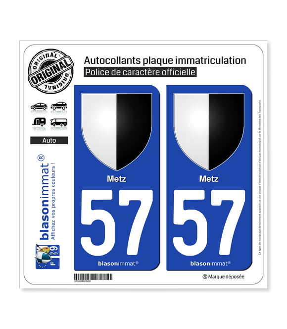 57 Metz - Armoiries | Autocollant plaque immatriculation