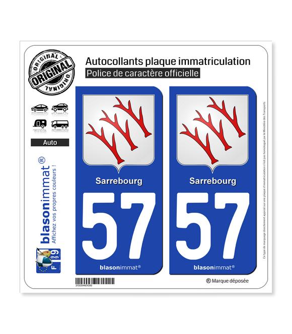 57 Sarrebourg - Armoiries | Autocollant plaque immatriculation
