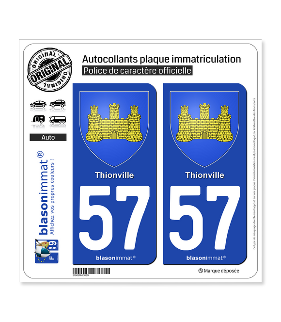 57 Thionville - Armoiries | Autocollant plaque immatriculation