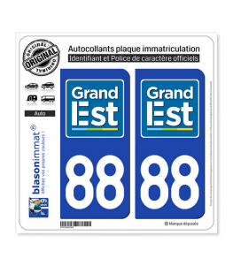 88 Grand Est - LogoType | Autocollant plaque immatriculation