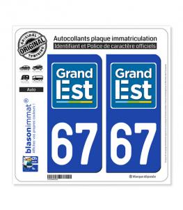 67 Grand Est - LogoType | Autocollant plaque immatriculation