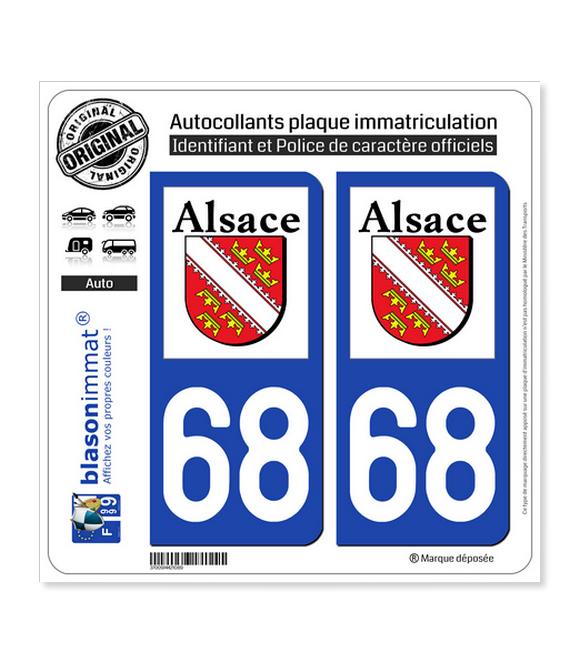68 Alsace - LogoType | Autocollant plaque immatriculation