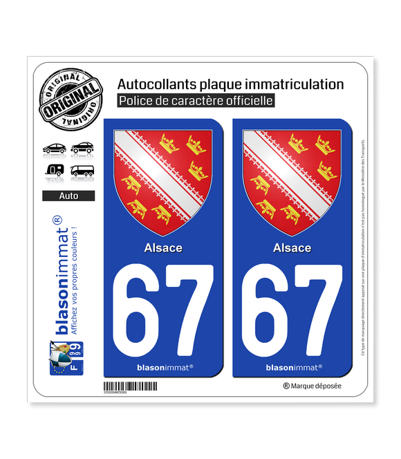 67 Alsace - Armoiries | Autocollant plaque immatriculation