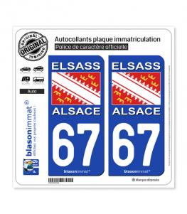 67 Alsace - Drapeau | Autocollant plaque immatriculation