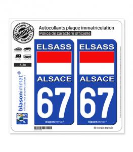 67 Alsace - Drapeau Historique | Autocollant plaque immatriculation