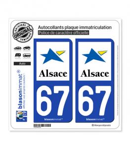 67 Alsace - Région | Autocollant plaque immatriculation