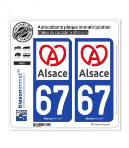 67 Alsace - Région II | Autocollant plaque immatriculation