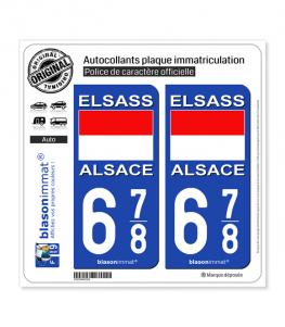 678 Alsace - Drapeau Historique | Autocollant plaque immatriculation
