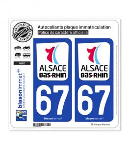 67 Bas-Rhin - Département | Autocollant plaque immatriculation