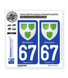 67 Birlenbach - Armoiries | Autocollant plaque immatriculation