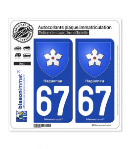 67 Haguenau - Armoiries | Autocollant plaque immatriculation