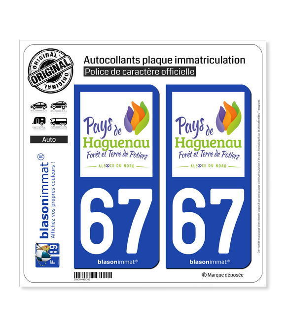 67 Haguenau - Tourisme | Autocollant plaque immatriculation