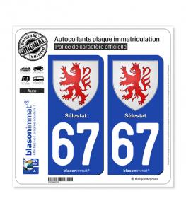 67 Sélestat - Armoiries | Autocollant plaque immatriculation