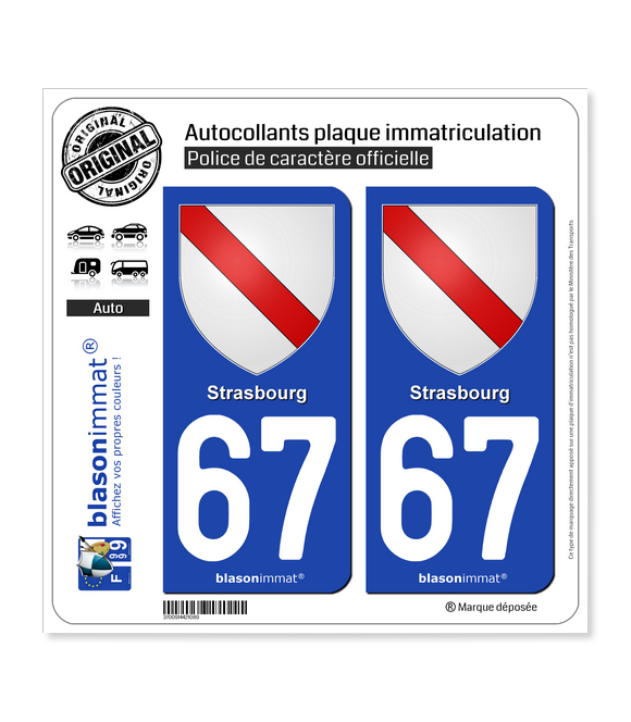 67 Strasbourg - Armoiries | Autocollant plaque immatriculation