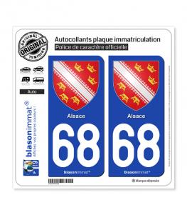 68 Alsace - Armoiries | Autocollant plaque immatriculation