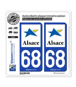 68 Alsace - Région | Autocollant plaque immatriculation