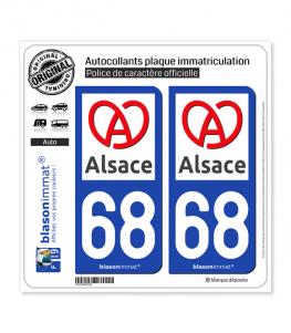 68 Alsace - Région II | Autocollant plaque immatriculation