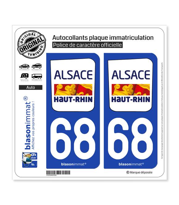 68 Haut-Rhin - Département | Autocollant plaque immatriculation