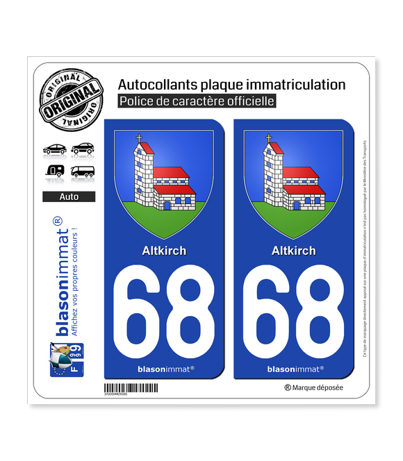 68 Altkirch - Armoiries | Autocollant plaque immatriculation