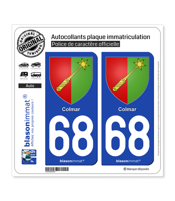 68 Colmar - Armoiries | Autocollant plaque immatriculation