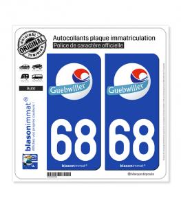 68 Guebwiller - Ville | Autocollant plaque immatriculation
