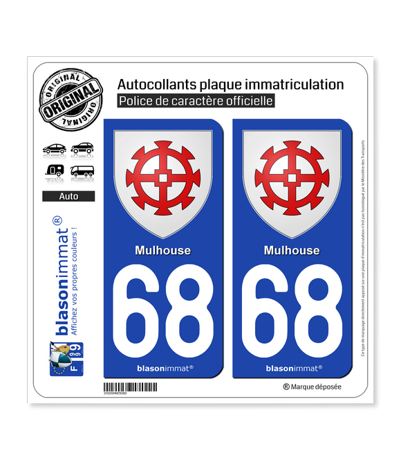 68 Mulhouse - Armoiries | Autocollant plaque immatriculation