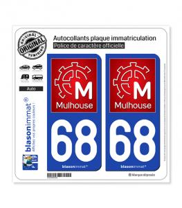 68 Mulhouse - Ville | Autocollant plaque immatriculation