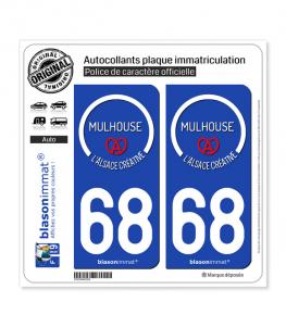 68 Mulhouse - Tourisme | Autocollant plaque immatriculation