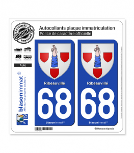 68 Ribeauvillé - Armoiries | Autocollant plaque immatriculation