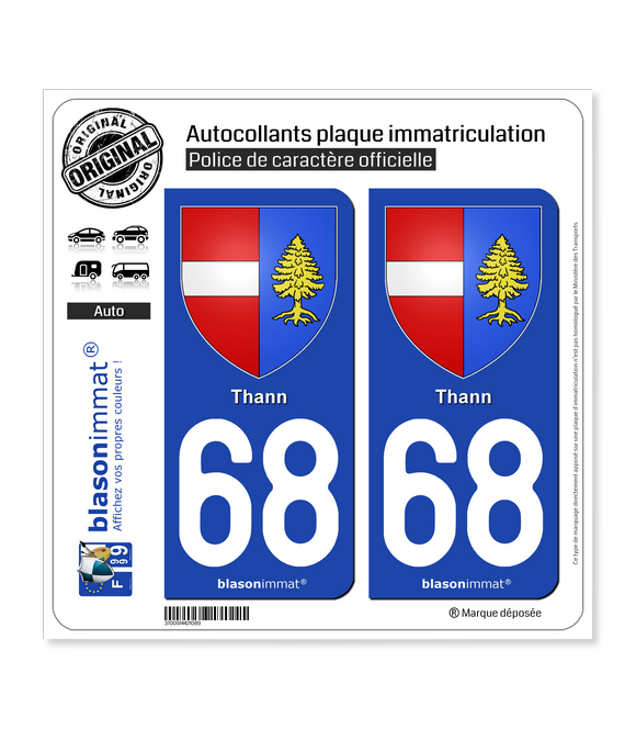 68 Thann - Armoiries | Autocollant plaque immatriculation