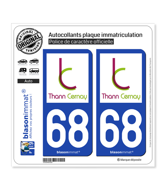 68 Thann - Agglo | Autocollant plaque immatriculation