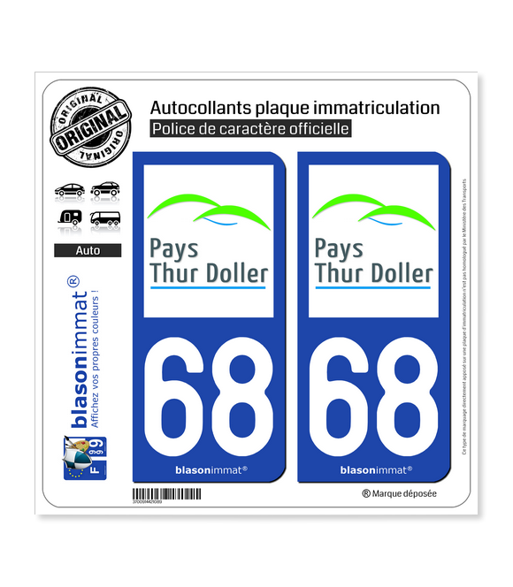 68 Thur Doller - Pays | Autocollant plaque immatriculation