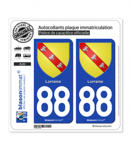 88 Lorraine - Armoiries | Autocollant plaque immatriculation
