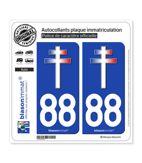 88 Croix de Lorraine | Autocollant plaque immatriculation