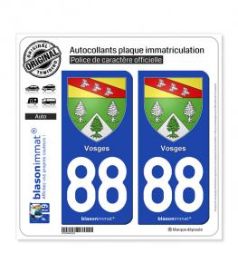 88 Vosges - Armoiries | Autocollant plaque immatriculation