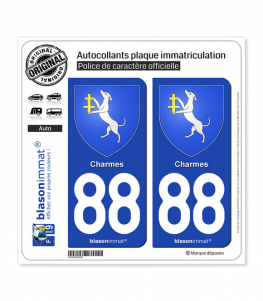 88 Charmes - Armoiries | Autocollant plaque immatriculation