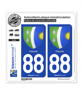 88 Cleurie - Armoiries | Autocollant plaque immatriculation