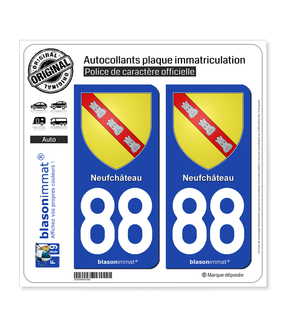 88 Neufchâteau - Armoiries | Autocollant plaque immatriculation