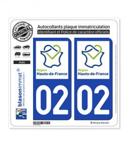 02 Hauts-de-France - LogoType | Autocollant plaque immatriculation