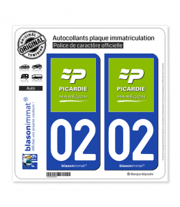 02 Picardie - Ma Région | Autocollant plaque immatriculation